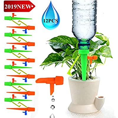 Lucstar Plants Self Watering Spike Devices Auto Dripper Kits 12 Pcs Waterers for Potted Plants Flowers Growth Vegetable Outdoor Indoor,Slow Flow Control Valve Irrigation System Equipment Garden Lawn by Lucstar