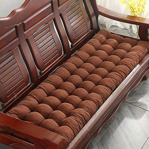 DIELUNY Cojines de silla mecedora para tumbonas, cojines de asiento de sofá para interiores y exteriores, con lazos gruesos, transpirables, color café, 48 x 120 cm