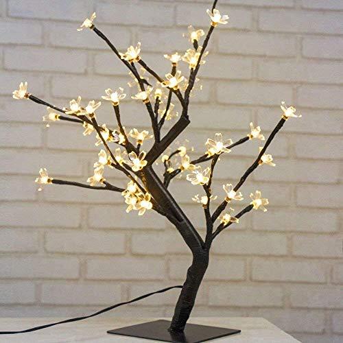 Arbre lumineux de 45 cm à LED avec 48 fleurs de cerisier, lumières LED, pour Noël, intérieur, décoration, bureau, chevet, blanc chaud