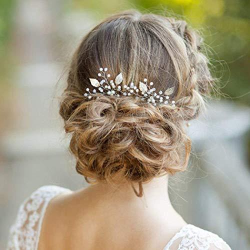 Aukmla Haarnadeln Hochzeit Kopfschmuck mit Kristallen Braut Haarschmuck für Frauen auf Hochzeit Party oder Freizeit (Rose Gold)