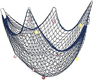 Decorative Fish Net, Mediterranean Style Nautical Decorative Fishing Net with Shells and Anchor Home Decor Room Decoration (2mx1.5m, Blue)