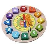 Forma Clasificación Reloj Puzzle Enseñanza Tiempo Números Bloques Juguete Educativo de Madera para Niños Cómodo y Ambiental