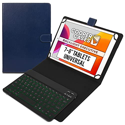 Cooper Backlight Executive Keyboard Case for 7, 7.9, 8' Tablets   Universal 2-in-1 Bluetooth Keyboard & Leather Folio, 7 Color Backlit, 13 Hotkeys