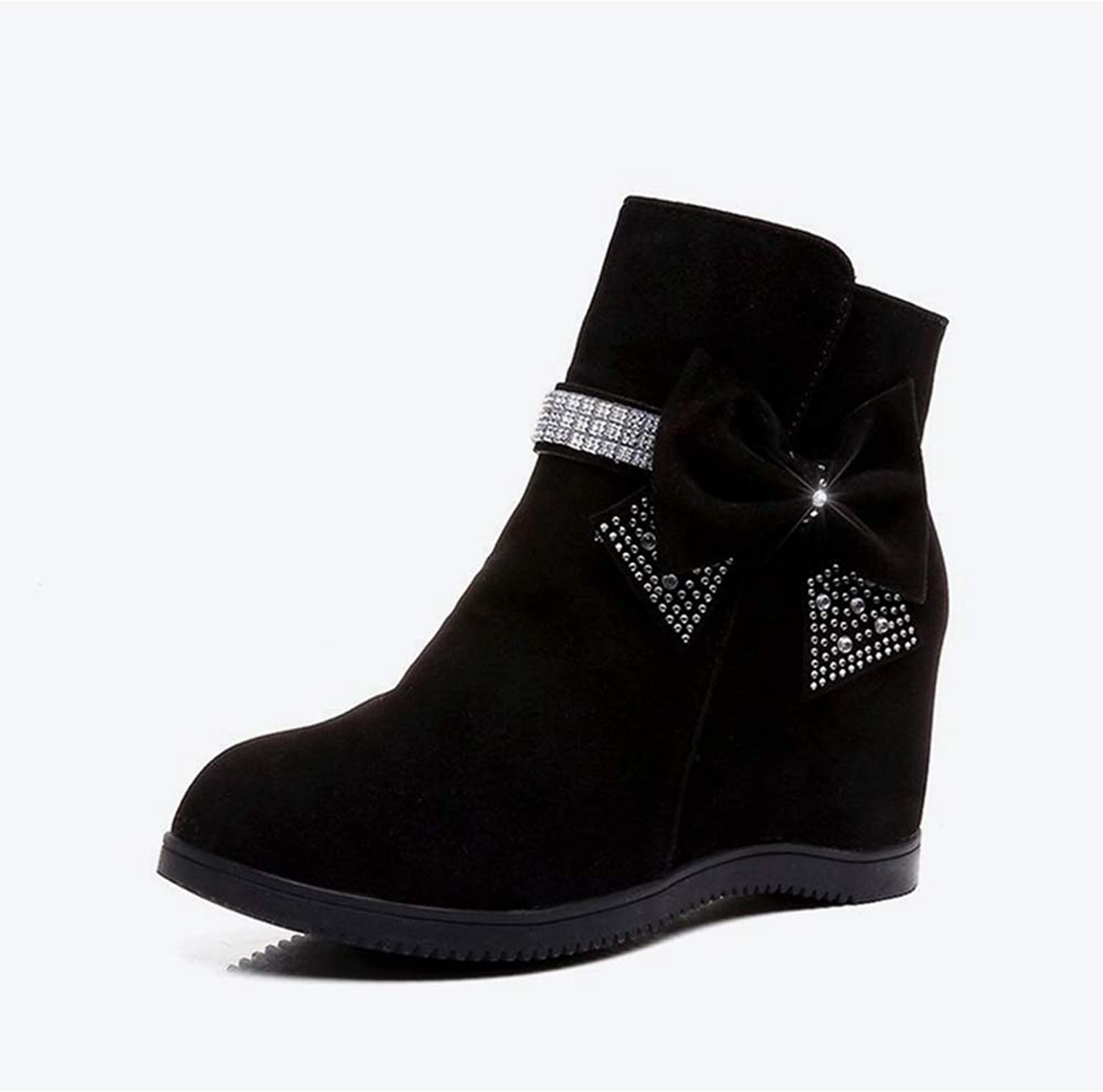 SANOMY Height Increasing Ankle Boots for Women Zip Bling Belt Bowtie Wedge shoes Anti-Skid Riding Booties