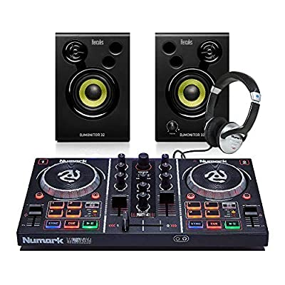 Numark PartyMix DJ Controller + Studio Monitor Speakers/Headphones DJ Bundle
