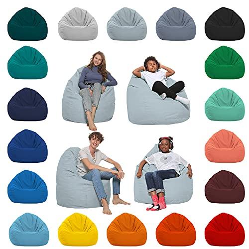 HomeIdeal - Sitzsack XXL Bodenkissen für Erwachsene & Kinder - Geeignet für Gaming oder Entspannen - Indoor wie Outdoor da er Wasserfest ist - mit EPS Perlen, Farbe:Grau, Größe:XL