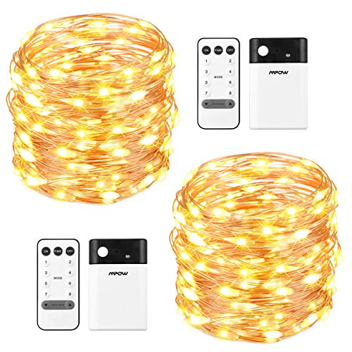 33ft 100 LED Battery Operated & USB String Lights with Remote, Fairy Decorative Lights Dimmable, Copper Wire Lights for Bedroom Party Wedding White Valentine