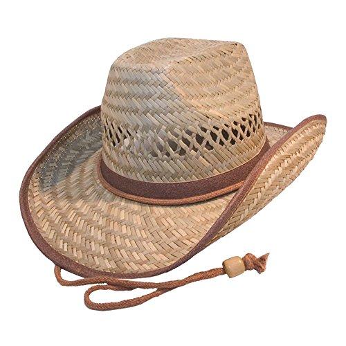Galeja Herren Strohhut Cowboyhut mit Kinnband Gr. 58/59 Westernhut Australier Braun Lederimitat