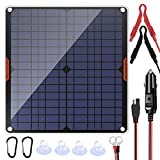 POWISER 20W 12V Solar Panel Car Battery Charger Portable Waterproof Power Trickle Battery Charger & Maintainer for Car Boat...