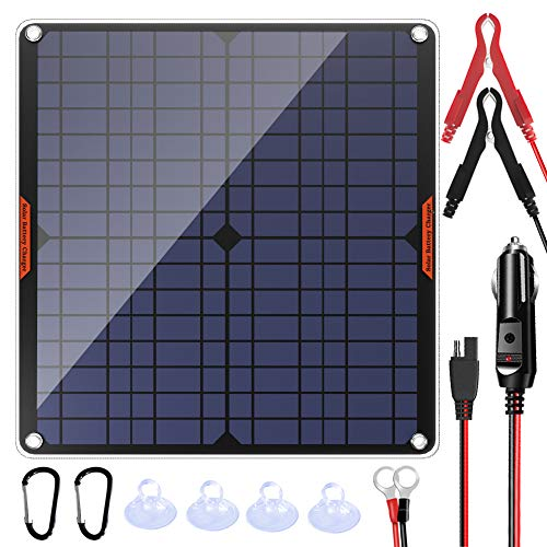 POWISER 20W 12V Solar Panel Car Battery Charger Portable Waterproof Power Trickle Battery Charger & Maintainer for Car Boat Automotive RV with Cigarette Lighter Plug & Alligator Clip