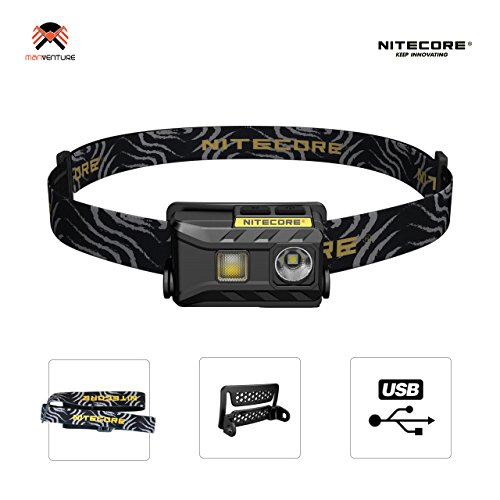 Nitecore® NU25 USB Wiederaufladbare LED Stirnlampe IP66 Wasserdichte Kopflampe mit 360 Lumen LED und Rotlicht 28 Gramm Integrierten Li-Ion Akku Taschenlampe für Angeln Laufen Camping Wandern Lesen