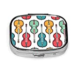 Caja de pastillas cuadrada plateada de moda personalizada para contrabajo, estuche organizador de cartera para bolsillo o monedero