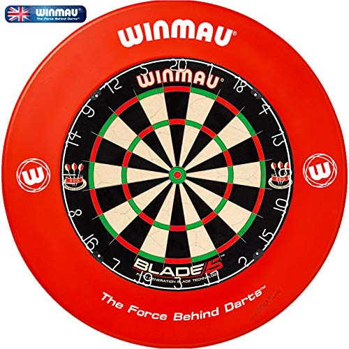 Winmau Dartboard Blade 5 Tunierdartscheibe mit Winmau Surround (Rot)