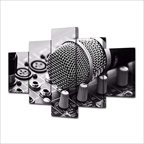 WWMJBH Canvas Hd Print Afbeeldingen 5 stuks muziek microfoon schilderij huis muurkunst decoratie woonkamer mengpaneel postervlies canvas afbeelding 5 kunstdruk modern 150X100cm