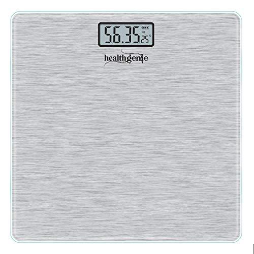 Healthgenie Thick Tempered Glass Lcd Display Digital Weighing Machine , Weight Machine For Human Body Digital Weighing Scale, Weight Scale, with 1 Year Warranty (Brushed Metallic ).