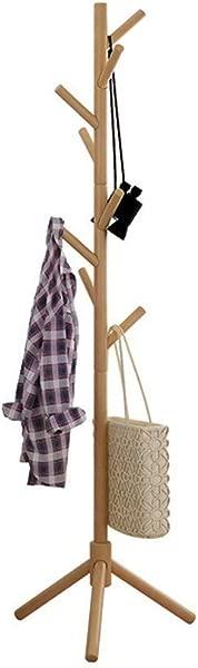 Uookboy Free Standing Multi Function Coat Rack Hanger Solid Wooden Tree Hanger Modern Livingroom Bedroom Coat Rack Khaki
