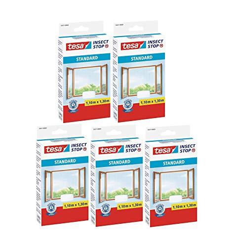 tesa Insect Stop Standard Fliegengitter für Fenster - Insektenschutz zuschneidbar - Mückenschutz ohne Bohren - 5 x Fliegen Netz weiß - 110 cm x 130 cm