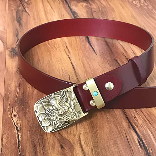 SJAKMA Herrengürtel,Rotbraunen Vintage Leder Gürtel Für Männer Männer Gürtel Brass Elephant Belt Buckle Gürtel Jeans Armband, 120 cm