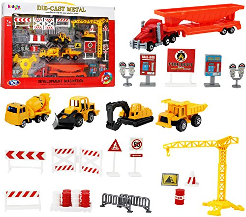 Kiddie Play Construction Vehicles Toys Set Birthday Party Cake Topper Construction Trucks
