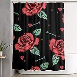 N\A Rose Love Cupid 's Pfeil Duschvorhang Set Wohnkultur Wasserdicht Waschbare Polyester Stoff Badzubehör mit Haken