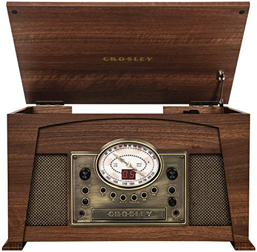 Crosley CR7015A-WA Medley 3-Speed Turntable with Bluetooth, AM/FM Radio, CD Player, Cassette Deck, and Aux-in, Walnut