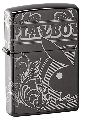 Zippo Unisex-Erwachsene Playboy Laser Pocket Classic Lighter, Black Ice 360 Design, One Size
