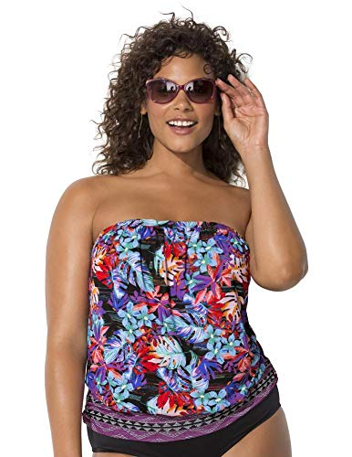 Swimsuits For All Women's Plus Size Bandeau Blouson Tankini Top 26 Wild Multi Multicolored