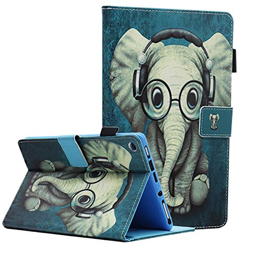 Bbjjkkz Case for HD 8 Tablet (8th / 7th / 6th Generation - 2018, 2017 and 2016 Release), Full Body Protective PU Leather Folio Smart Stand Cover, Not Fit HD 8 10th Gen 2020 Release, Cute Elephant