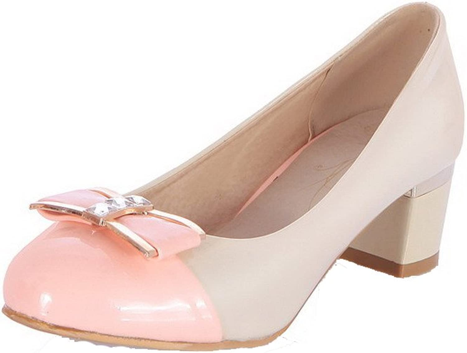 AmoonyFashion Women's Pull On Round Closed Toe Kitten-Heels Assorted color Pumps-shoes