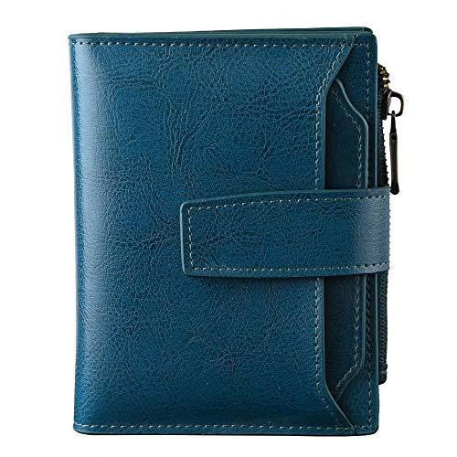 Cartera de piel pequeña con bloqueo RFID y bolsillo con cremallera para mujer, con ventana de identificación, Azul (Peacock Blue), S