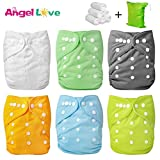 Cloth Diapers, Angel Love 6 Pack Diaper Covers+6 Diaper Inserts+1 Wet...