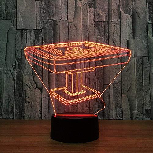 3D Illusion LampeNachtlicht Mahjong Spieltisch schange Touch Switch Schreibtisch Dekoration Lampen Schlafzimmer Atmosphäre Lampe Geburtstagsgeschenke für Kinder USB7 Farben(Fernbedienung)