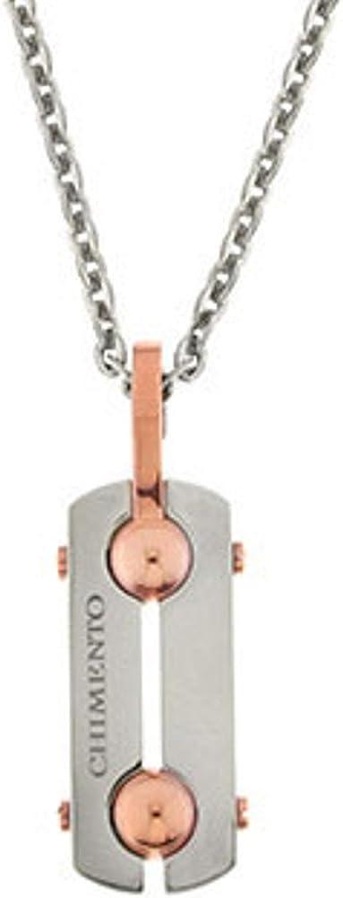 Chimento, collana  uomo in acciaio ,pendente in acciaio con inserti  color oro rosa 82608361