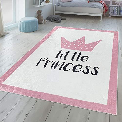 TT Home Kinderzimmer Teppich Waschbar Mädchen Design Krone Mit Spruch Pastell Rosa Weiß, Größe:120x160 cm