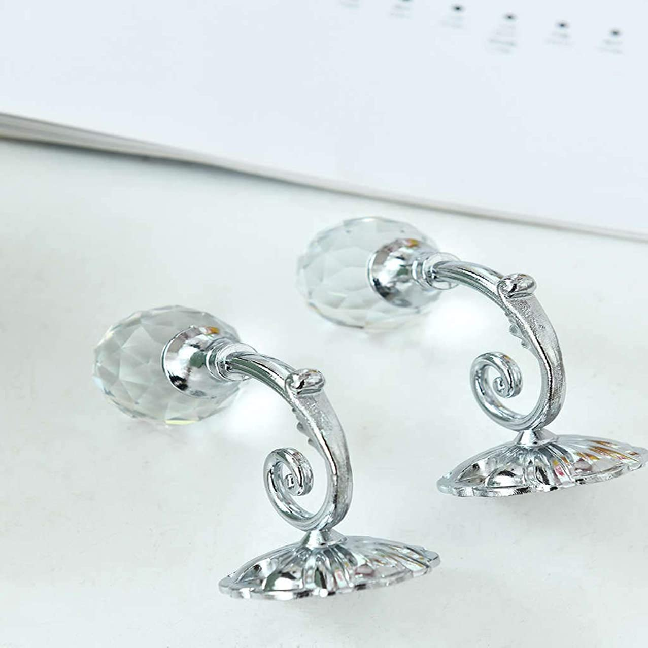Magnetic Crystal Curtain Hooks,Wall Hooks Hangers Blossom Diamond Clips Stretchy Wire Rope Office Decoration Holdbacks