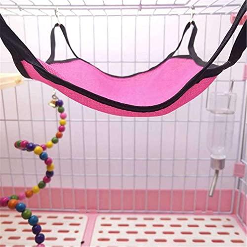 XuZeLii Hamaca De Hámster Mascota de Verano Hamaca Hamster Hamaca Transpirable Malla durmiendo Nido Adecuado para Animales Pequeños (Color : Rose Red, Size : 25x25cm)