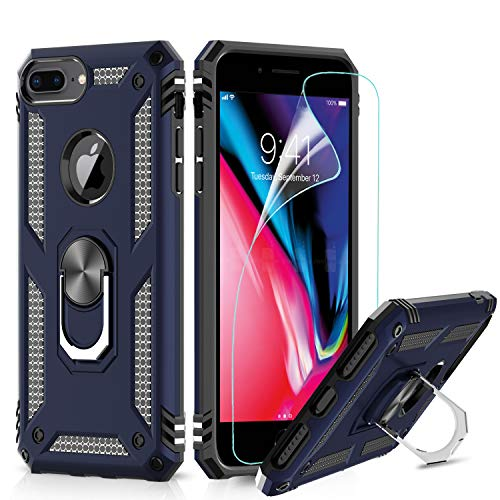 LeYi Funda iPhone 6 Plus / 7 Plus / 8 Plus Armor Carcasa con 360 Anillo iman Soporte Hard PC y Silicona TPU Bumper antigolpes Case para movil iPhone 7/8 Plus con HD Protector de Pantalla,Azul