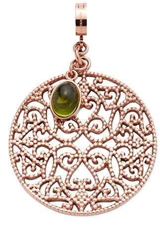 Jewels by Leonardo DARLIN'S Damen-Anhänger Nicola, Edelstahl IP roségold mit grünem Glas-Stein, Clip & Mix System, Größe (B/H/T): 34/52/8 mm, 016853