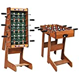 Goplus Foldable Foosball Table, 27'' Soccer Table Game w/ 2 Mini Footballs, Keepers & Steel Rods, Freestanding Football Game Set for Kids and Adults in Office, Home