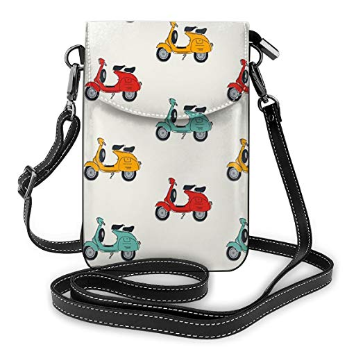Retro Vespa Small Crossbody Bag Cell Phone Purse Wallet With Credit Card Slots for Women Girls