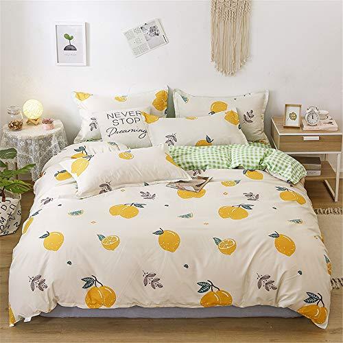 Morbuy Bedding Set Duvet Cover Set 4pcs for Double King Single Size Bed, Fruit Printed Duvet Set with 1 Quilt Case 1 Flat Sheet 2 Pillowcases (Beige lemon,200x230cm /2.0M)