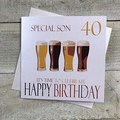 witte katoenen kaarten Speciale Zoon 40 Het is tijd om te vieren Gelukkig, Handgemaakte 40e Verjaardagskaart (Code NBS40, Bier)