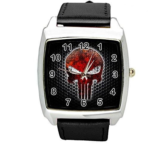 Reloj cuadrado de cuero negro para fanáticos de calaveras e2