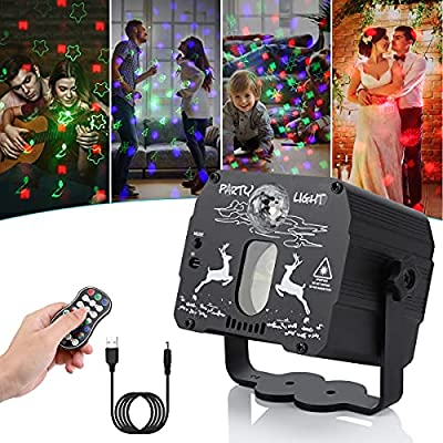 Christmas party light,Sound Activated Mini party lights with USB Power Cable, Different 60 Patterns Disco Lights projector with Remote Control for Holidays, Birthday, Parties and Christmas