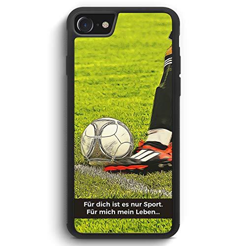 Für Dich ist es nur Sport - Fußball - Silikon Hülle für iPhone SE 2020 - Motiv Design Spruch Jungs Männer Herren Cool - Cover Handyhülle Schutzhülle Case Schale