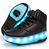 Lxso Roller Skate Shoes Girls Boys LED Light Up Wheel Shoes Sport Sneaker Children Gift for Outdoor Games Christmas Black