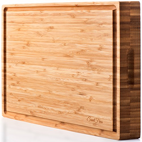 SoulFino Bamboo Butcher Block - Cutting Board, Reversible with Juice Groove and Handles - Maximum Health Benefits and Low Maintenance - Extra Large Size, Nice and Thick