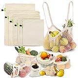MAIKEHIGH Sacs de Fruits Légumes Réutilisables, 6 Pièce Coton Naturel Lavable Sac Shopping Zéro Déchet (XL,L,M,S, Fourre Tout, Poche)