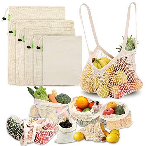 LIVEHITOP Sacs de Fruits Légumes Réutilisables, 6 Pièce Coton Naturel Lavable Sac Shopping Zéro Déchet (XL,L,M,S, Fourre Tout, Poche)