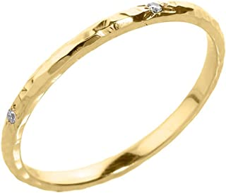 hammered gold and diamond ring